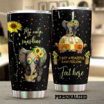 Personalized Elephant I Got A Peaceful Easy Feelings Sunflower Hippie Stainless Steel Tumbler Perfect Gifts For Elephant Lover Tumbler Cups For Coffee/Tea, Great Customized Gifts For Birthday Christmas Thanksgiving