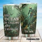 Personalized The Ocean Is Calling And I Must Go Stainless Steel Tumbler Perfect Gifts For Ocean Lover Tumbler Cups For Coffee/Tea, Great Customized Gifts For Birthday Christmas Thanksgiving