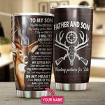 Personalized Deer Hunting To My Son From Dad My Little Boy Yesterday Stainless Steel Tumbler Perfect Gifts For Hunting Lover Tumbler Cups For Coffee/Tea, Great Customized Gifts For Birthday Christmas Thanksgiving