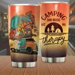 Camping And Music Are My Therapy Stainless Steel Tumbler Perfect Gifts For Camping Lover Tumbler Cups For Coffee/Tea, Great Customized Gifts For Birthday Christmas Thanksgiving