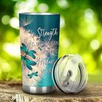 Dragonfly Strength Is What We Gain Stainless Steel Tumbler Perfect Gifts For Dragonfly Lover Tumbler Cups For Coffee/Tea, Great Customized Gifts For Birthday Christmas Thanksgiving