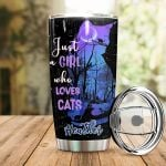 Personalized Just A Girl Who Loves Cats Stainless Steel Tumbler Perfect Gifts For Cat Lover Tumbler Cups For Coffee/Tea, Great Customized Gifts For Birthday Christmas Thanksgiving
