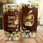 Personalized Teacher Teach Love Inspire Apple Sunflower Stainless Steel Tumbler Perfect Gifts For Teacher Tumbler Cups For Coffee/Tea, Great Customized Gifts For Birthday Christmas Thanksgiving