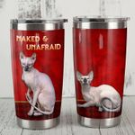 Sphynx Cat Naked And Unafraid Red Stainless Steel Tumbler Perfect Gifts For Cat Lover Tumbler Cups For Coffee/Tea, Great Customized Gifts For Birthday Christmas Thanksgiving