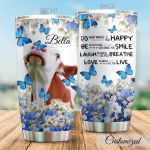 Personalized Cow Butterfly Do What Makes You Happy Stainless Steel Tumbler Perfect Gifts For Cow Lover Tumbler Cups For Coffee/Tea, Great Customized Gifts For Birthday Christmas Thanksgiving