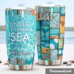 Personalized Beach I Need Vitamin Stainless Sea Steel Tumbler Perfect Gifts For Beach Lover Tumbler Cups For Coffee/Tea, Great Customized Gifts For Birthday Christmas Thanksgiving