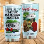 Personalized Couple Camping Drive Slow Drunk Campers Matter Stainless Steel Tumbler Perfect Gifts For Camping Lover Tumbler Cups For Coffee/Tea, Great Customized Gifts For Birthday Christmas Thanksgiving
