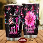 Personalized Breast Cancer American Flag Stainless Steel Tumbler Perfect Gifts For Breast Cancer Awareness Tumbler Cups For Coffee/Tea, Great Customized Gifts For Birthday Christmas Thanksgiving