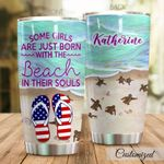 Personalized Some Girls Are Just Born With The Beach Stainless Steel Tumbler Perfect Gifts For Beach Lover Tumbler Cups For Coffee/Tea, Great Customized Gifts For Birthday Christmas Thanksgiving
