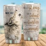 Personalized Wolf With Flower She Is Strong She Is Valiant Stainless Steel Tumbler Perfect Gifts For Wolf Lover Tumbler Cups For Coffee/Tea, Great Customized Gifts For Birthday Christmas Thanksgiving