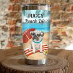 Pug Puggy Beach Life Stainless Steel Tumbler, Tumbler Cups For Coffee/Tea, Great Customized Gifts For Birthday Christmas Thanksgiving