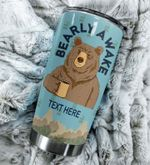 Personalized Beer Bearly Awake Stainless Steel Tumbler Perfect Gifts For Beer Lover Tumbler Cups For Coffee/Tea, Great Customized Gifts For Birthday Christmas Thanksgiving