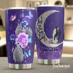 Personalized Penguin I Love You To The Moon And Back Stainless Steel Tumbler Perfect Gifts For Penguin Lover Tumbler Cups For Coffee/Tea, Great Customized Gifts For Birthday Christmas Thanksgiving