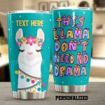 Personalized This Llama No Need Drama Funny Llama Wearing Flower Wreath Stainless Steel Tumbler Perfect Gifts For Llama Lover Tumbler Cups For Coffee/Tea, Great Customized Gifts For Birthday Christmas Thanksgiving