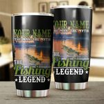 Personalized The Fishing Legend Stainless Steel Tumbler Perfect Gifts For Fishing Lover Tumbler Cups For Coffee/Tea, Great Customized Gifts For Birthday Christmas Thanksgiving