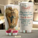 Personalized Elephant Flower To My Daughter From Mom I Am The Storm Stainless Steel Tumbler Perfect Gifts For Elephant Lover Tumbler Cups For Coffee/Tea, Great Customized Gifts For Birthday Christmas Thanksgiving