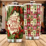 Christmas Eat Drink And Be Merry Stainless Steel Tumbler, Tumbler Cups For Coffee/Tea, Great Customized Gifts For Birthday Christmas Thanksgiving