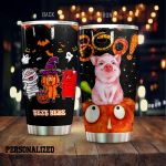 Personalized Halloween Pig Stainless Steel Tumbler Perfect Gifts For Pig Lover Tumbler Cups For Coffee/Tea, Great Customized Gifts For Birthday Christmas Thanksgiving Halloween