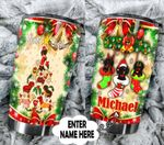 Personalized Dachshund Merry Christmas Stainless Steel Tumbler Perfect Gifts For Dog Lover Tumbler Cups For Coffee/Tea, Great Customized Gifts For Birthday Christmas Thanksgiving