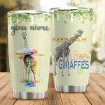 Personalized Giraffe Keep Calm And Love Giraffes Colorful Cloud Stainless Steel Tumbler Perfect Gifts For Giraffe Lover Tumbler Cups For Coffee/Tea, Great Customized Gifts For Birthday Christmas Thanksgiving