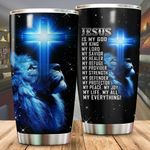 Lion Jesus Is My God My King Stainless Steel Tumbler Perfect Gifts For Lion Lover Tumbler Cups For Coffee/Tea, Great Customized Gifts For Birthday Christmas Thanksgiving