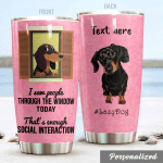 Personalized Dachshund I Saw The People Through The Window Today Stainless Steel Tumbler, Tumbler Cups For Coffee/Tea, Great Customized Gifts For Birthday Christmas Thanksgiving