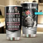 Personalized Farmer I'm A Grumpy Old Farmer Stainless Steel Tumbler Perfect Gifts For Farmer Tumbler Cups For Coffee/Tea, Great Customized Gifts For Birthday Christmas Thanksgiving