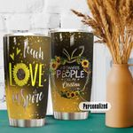 Personalized Teacher Teach Love Inspire Sunflower Stainless Steel Tumbler Perfect Gifts For Teacher Tumbler Cups For Coffee/Tea, Great Customized Gifts For Birthday Christmas Thanksgiving
