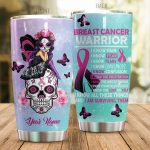 Personalized Breast Cancer Warrior I Know Pain Stainless Steel Tumbler Perfect Gifts For Breast Cancer Awareness Tumbler Cups For Coffee/Tea, Great Customized Gifts For Birthday Christmas Thanksgiving