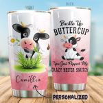 Personalized Cow Bucke Up Buttercup Stainless Steel Tumbler Perfect Gifts For Cow Lover Tumbler Cups For Coffee/Tea, Great Customized Gifts For Birthday Christmas Thanksgiving