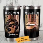Personalized Black Girl Brown Sugar Melanin Queen Stainless Steel Tumbler Perfect Gifts For Daughter Girlfriend Wife Tumbler Cups For Coffee/Tea, Great Customized Gifts For Birthday Christmas Thanksgiving