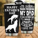 Personalized Wolf Dad Thanks For Being My Dad From Kids Stainless Steel Tumbler Perfect Gifts For Wolf Lover Tumbler Cups For Coffee/Tea, Great Customized Gifts For Birthday Christmas Thanksgiving Father's Day