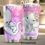Personalized Baby Elephant Wearing Flower Just A Girl Who Loves Elephant Stainless Steel Tumbler Perfect Gifts For Elephant Lover Tumbler Cups For Coffee/Tea, Great Customized Gifts For Birthday Christmas Thanksgiving