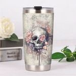Skull Flowers Stainless Steel Tumbler, Tumbler Cups For Coffee/Tea, Great Customized Gifts For Birthday Christmas Thanksgiving