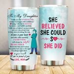 Personalized Nurse To My Daughter From Mom Face Challenges With Confidence Stainless Steel Tumbler Perfect Gifts For Nurse Tumbler Cups For Coffee/Tea, Great Customized Gifts For Birthday Christmas Thanksgiving