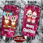 Personalized Owl Couple Merry Christmas Stainless Steel Tumbler Perfect Gifts For Owl Lover Tumbler Cups For Coffee/Tea, Great Customized Gifts For Birthday Christmas Thanksgiving