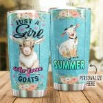 Personalized Farmer Just A Girl Who Loves Goats Stainless Steel Tumbler Perfect Gifts For Goat Lover Tumbler Cups For Coffee/Tea, Great Customized Gifts For Birthday Christmas Thanksgiving
