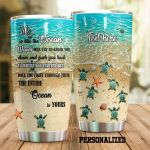 Personalized Turtle Life Is Like The Ocean Stainless Steel Tumbler Perfect Gifts For Turtle Lover Tumbler Cups For Coffee/Tea, Great Customized Gifts For Birthday Christmas Thanksgiving