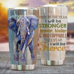 Elephant The Year I Will Be Stronger Stainless Steel Tumbler Perfect Gifts For Elephant Lover Tumbler Cups For Coffee/Tea, Great Customized Gifts For Birthday Christmas Thanksgiving
