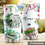 Personalized Gardening I Garden So I Don't Choke People Skull Stainless Steel Tumbler Perfect Gifts For Gardening Lover Tumbler Cups For Coffee/Tea, Great Customized Gifts For Birthday Christmas Thanksgiving