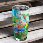 Personalized Tropical Flamingo Stainless Steel Tumbler Perfect Gifts For Flamingo Lover Tumbler Cups For Coffee/Tea, Great Customized Gifts For Birthday Christmas Thanksgiving