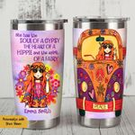 Personalized Aesthetic Hippie Girl Hippie Van She Has The Soul Of A Gypsy Stainless Steel Tumbler Perfect Gifts For Hippie Tumbler Cups For Coffee/Tea, Great Customized Gifts For Birthday Christmas Thanksgiving