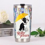 Boston Terrier Dog Under Yellow Umbrella Stainless Steel Tumbler Perfect Gifts For Dog Lover Tumbler Cups For Coffee/Tea, Great Customized Gifts For Birthday Christmas Thanksgiving