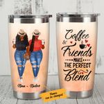 Personalized Black Girl Bestie Coffee And Friends Make The Perfect Blend Stainless Steel Tumbler Perfect Gifts For Best Friend Tumbler Cups For Coffee/Tea, Great Customized Gifts For Birthday Christmas Thanksgiving