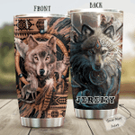 Personalized Native American Wolf Stainless Steel Tumbler Perfect Gifts For Wolf Lover Tumbler Cups For Coffee/Tea, Great Customized Gifts For Birthday Christmas Thanksgiving