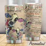 Personalized Cow To My Daughter From Mom Never Forget That I Love You Stainless Steel Tumbler Perfect Gifts For Cow Lover Tumbler Cups For Coffee/Tea, Great Customized Gifts For Birthday Christmas Thanksgiving