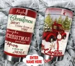 Personalized Maybe Christmas Doesn't Come From A Store Stainless Steel Tumbler Perfect Gifts For Red Truck Lover Tumbler Cups For Coffee/Tea, Great Customized Gifts For Birthday Christmas Thanksgiving