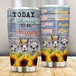 Llama I Choose To Be Happy Stainless Steel Tumbler Perfect Gifts For Llama Lover Tumbler Cups For Coffee/Tea, Great Customized Gifts For Birthday Christmas Thanksgiving