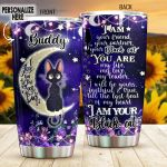 Personalized Black Cat Sitting On The Moon Till The Last Beat Of My Heart Stainless Steel Tumbler Perfect Gifts For Black Cat Lover Tumbler Cups For Coffee/Tea, Great Customized Gifts For Birthday Christmas Thanksgiving