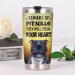 Pitbull Dog They Will Steal Your Heart Stainless Steel Tumbler Perfect Gifts For Dog Lover Tumbler Cups For Coffee/Tea, Great Customized Gifts For Birthday Christmas Thanksgiving